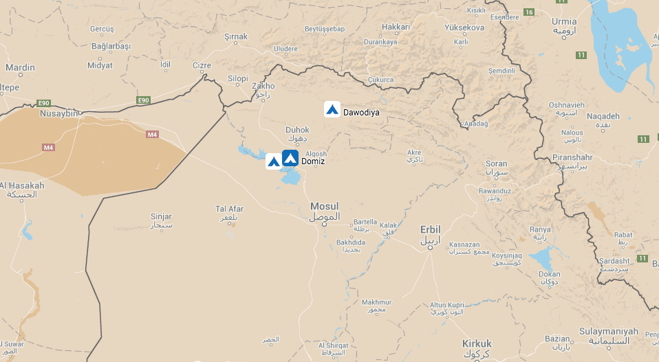 Map showing location of 3 camps visited in Dohuk governorate - Dawodiya and Khanke IDP camps and Domiz refugee camp.
