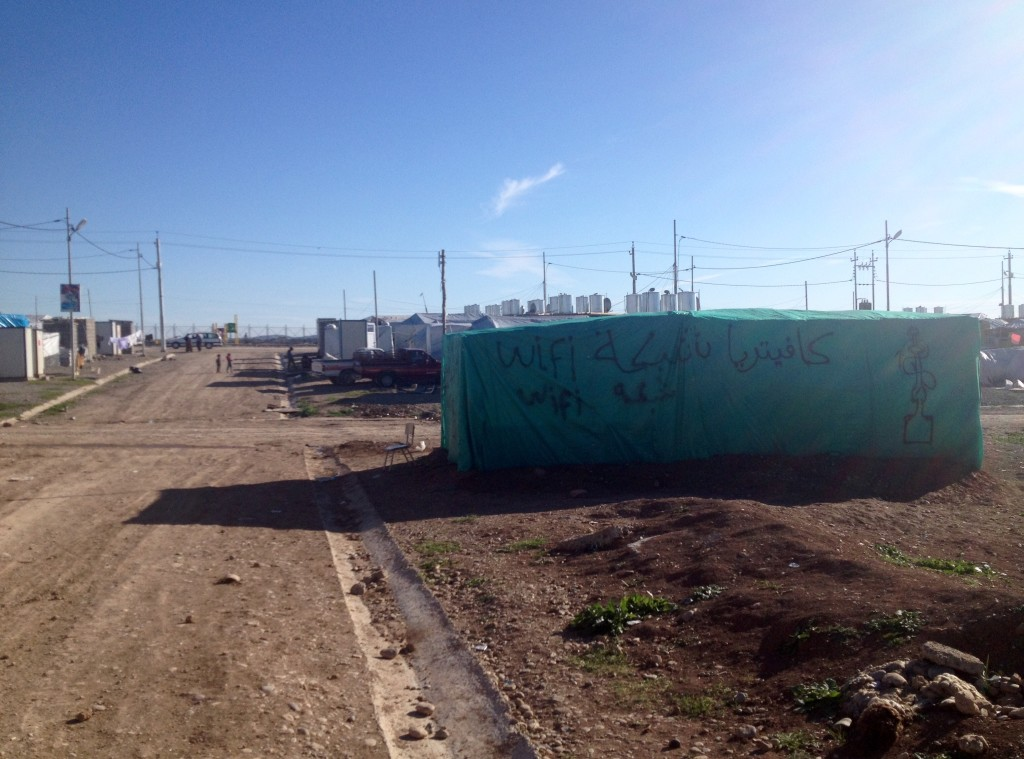 The green 'wifi cafeteria' tent we visited in Khanke IDP camp, Dohuk governorate.